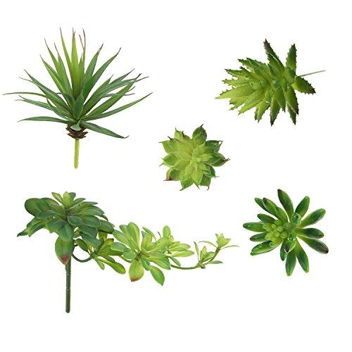 LJY Juego de 5 arreglos de flores artificiales variados, para plantas pequeñas, sin macetas, con acento