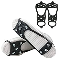 Type:: Black 8-studs anti slip traction cleats /grips Features: Good elasticity, Easy to pull on or take off , with light weight constructions which could folds up to fit in your pocket Material: TPE and non-slip studs, The traction spikes use the sp...