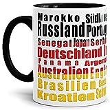 Tassendruck Flaggen-Tasse WM Teilnehmer - Fahne/Länderfarbe/WM 2018/Weltmeisterschaft/Cup/Tor/Qualität Made in Germany Deutschland Innen und Henkel Schwarz