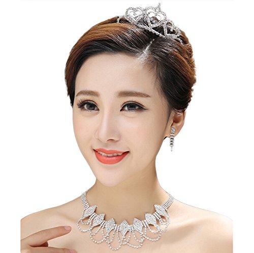 lumanuby tres piezas con cristales Collar Corona Pendientes novia tocado de las mujeres niñas joyas accesorios de Navidad del día de San Valentín cumpleaños regalo de bodas 2017Nuevo estilo