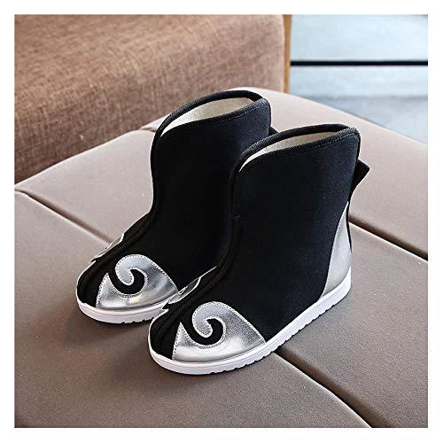 YUTJK Winter Baumwolle Pantoffeln Plüsch Wärme Weiche Hausschuhe Home rutschfeste Slippers für Herren Damen,Jungen handgemachte Canvas Baumwolle Schuhe-Silver2_15CM