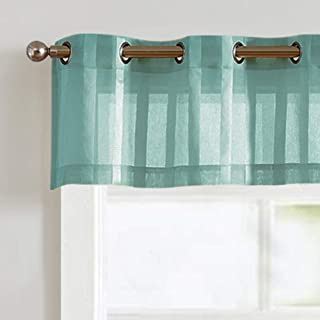 Vangao Valance Grommet Top for Kitchen Bathroom 14 inch Length Sheer Curtians for Cafe Striped Voile for Window,1 Panel, Blue