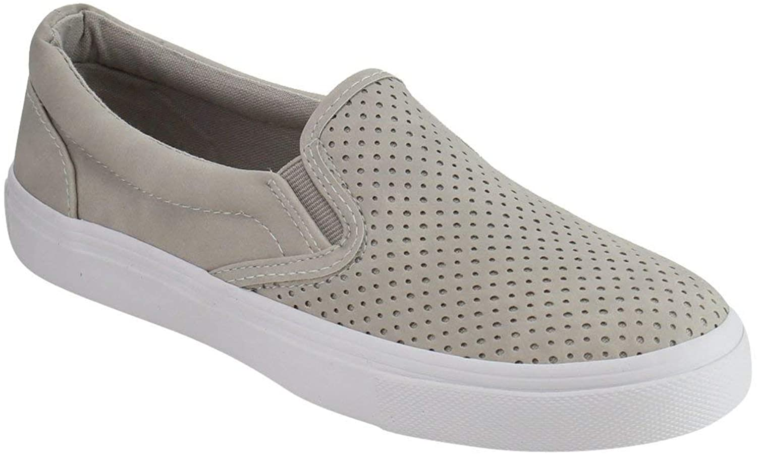 LUSTHAVE Women's Tracer Slip On White Sole shoes - Athletic Fashion Perforated Sneaker - Padded Cushion Clay 8.5