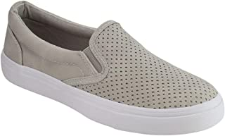 Women's Slip On White Sole Shoes - Athletic Fashion Perforated Sneaker - Padded Cushion