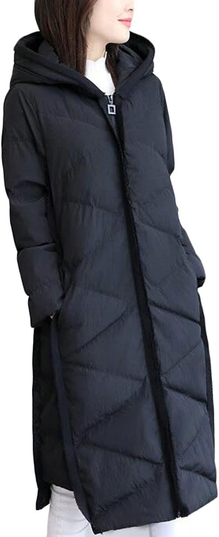 CBTLVSN Womens Solid Slim Long Sleeve Lightweight Puffer Down Long Hooded Jacket