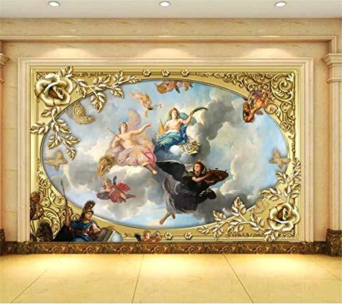Lxsart Kundenspezifische Wandgemälde des Tapeten 3d königliches klassisches Ölgemälde des europäischen Gerichts 3D Fernsehhintergrund-Tapeten-250cmx175cm