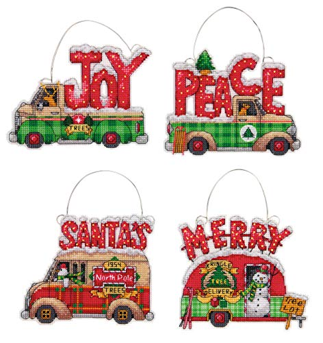 Dimensions Holiday Truck Christmas Ornaments Counted Cross Stitch Kit for Beginners, 14 Count Plastic Canvas, 4pc