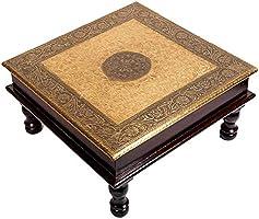 Mansi Enterprises Square Shape Wood Chowki | Brass Work Pooja Bajot Stool | Home Decor Sitting Table (Goldcolor_12 x 12...