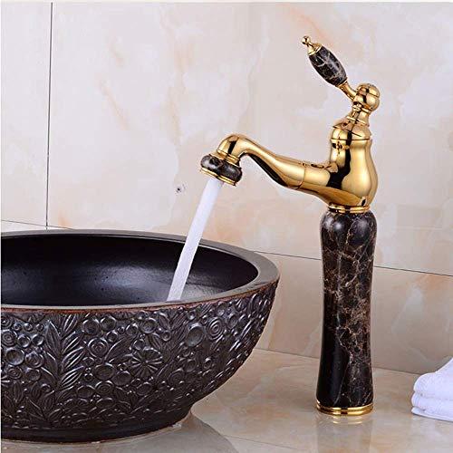 SXYULQQZ Europese Marmer Koper Badkamer Kraan Retro Koper Water Tap Hot Koud Shampoo Voor Bovenbekken Jade Kraan (Kleur : B, Maat : H-33cm)