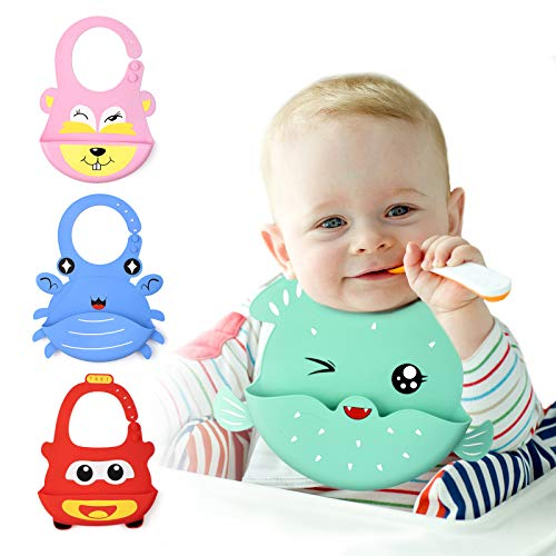 Airsnigi Silicone Baby Bibs, 4 Pack Soft Adjustable Silicone Bibs for Babies Girl and Boy with Food Catcher Pocket Waterproof Cartoon Green Puffer, Red Car, Pink Rabbit and Blue Crab