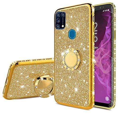 Nadoli Glitzer Hülle für Galaxy M31,Kristall Diamant Strass Bumper mit 360 Ring Kickstand Silikon Schutzhülle Handyhülle Frauen Mädchen für Samsung Galaxy M31,Gold