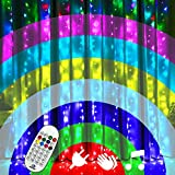 PALANCHY Curtain String Light, 3x3m Voice Control LED Window Fairy Lights 8 Color 8 Modes with Remote & Timer, 300 RGB Waterproof Fairy Curtain Twinkle Lights Flashing for Lover's Day Wedding