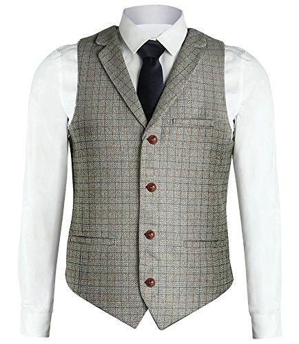 Zicac Men's Unique Advanced Custom Vest Skinny Wedding Dress Waistcoat (M, Light Gray Lapel)