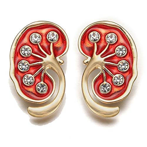 Kidney Pin Medical Gift Doctors Nurse Gold Color Brooches Pins Crystal Trendy Jewellery Red Enamel Pin Women Accessories-Gold-Color