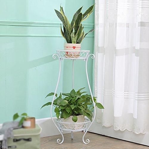 Stand de Fleur/Plante Stand de métal Floral Stand de Stockage de Jardin intérieur/extérieur (Blanc, Noir) (Color : White, Size : 28 * 28 * 76cm)
