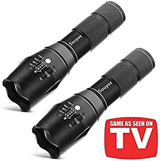 Led Tactical Flashlight,XML-T6 Tac Light Pro Flashlight As Seen on TV,5 Light Modes 2000 Lumen Torch with Adjustable Focus for Camping,Fishing,Emergency(2 Pack)
