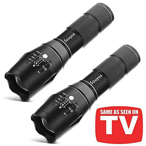 Led Tactical Flashlight,XML-T6 Flashlight As Seen on TV,5 Light Modes 2000 Lumen Torch with Adjustable Focus for Camping,Fishing,Emergency(2 Pack)