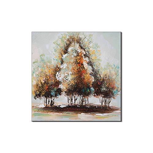 WSNDGWS Pintura al óleo Decorativa de Fondo Abstracto de árbol Grueso Paisaje Pintado a Mano Puro