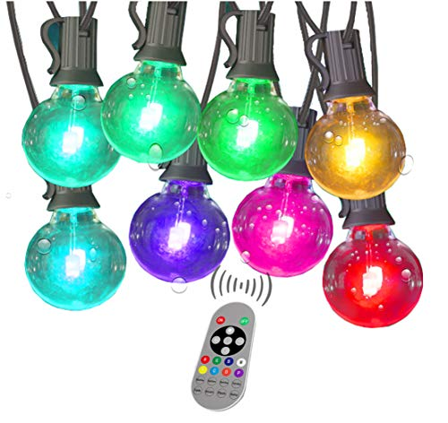 Color Changing String Lights with Remote Outdoor LED Colored String Lights Waterproof 96Ft 50 Plastic Shatterproof Dimmable G40 Multicolor Globe Bulbs for Backyard Garden Party Patio Light String