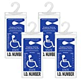 Handicapped Parking Placard Holder - Disabled Placard Protective Mirror Tag Holder with Larger Hanger by Tbuymax(Set of 4)