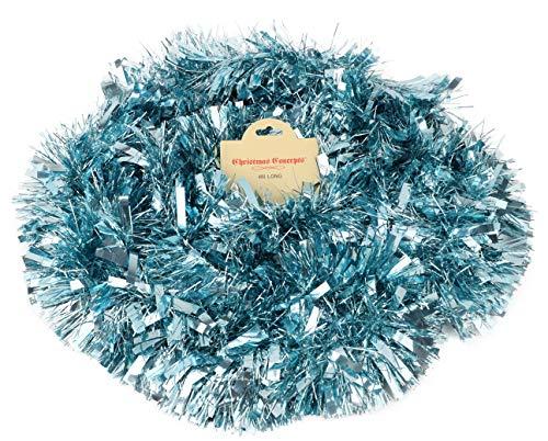Christmas Concepts® 4 Meter Chunky/Fine Christmas Tinsel - Weihnachtsdekoration - Hochwertiges Lametta (Ice Blue)