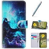 URFEDA Cover Compatibile con Huawei Nova 5i Custodia Pelle Cover Retro Flip Case Colorato ...