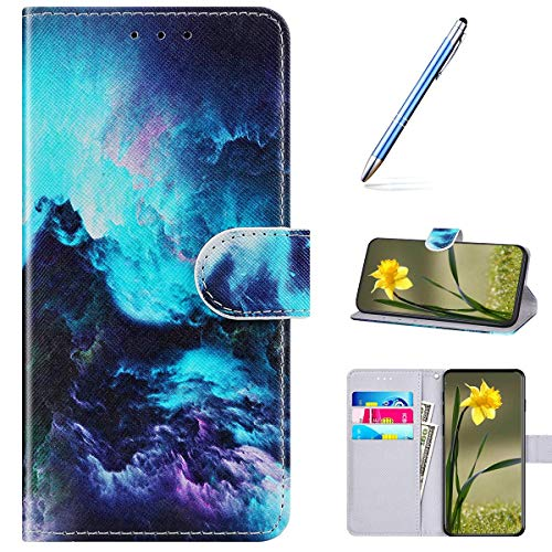 Kompatibel mit Huawei Nova 6 Handyhülle Leder Handytasche,Flip Case mit Bunt Muster Schutzhülle Brieftasche Magnet Kartenfächer Lederhülle Kratzfest Tasche Bookstyle Klapphülle,Meereswelle