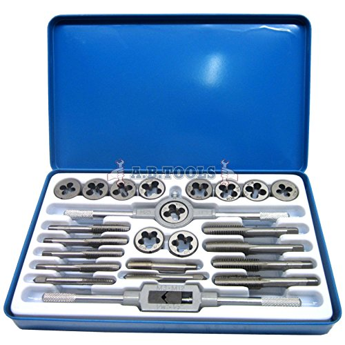UNF (AF) and UNC Tap and Die 24pc Set Imperial with Metal Case TE104