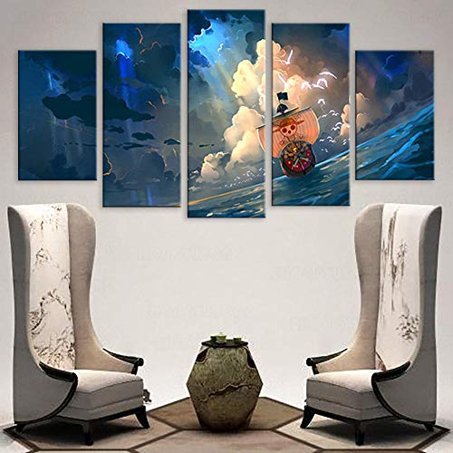 3D Leinwandbilder 5 Teile XXL Vlies Leinwand Bilder Dekoration Tausend Sonnige Wandkunstplakat Bild Auf Leinwand 5Tlg Bilder Mehrteilig Zum Aufhängen 150×80Cm (Mit Rahmen)