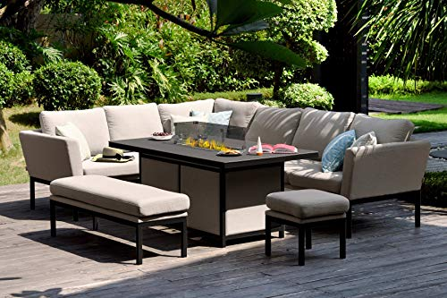 Fenetti Pulse Outdoor Fabric Rectangular Dining Set with Corner Sofa with Fire Table Taupe