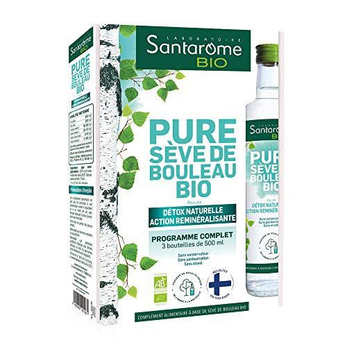 Santarome Bio Pure Sève de Bouleau Valisette Complément Alimentaire Detox Naturelle Programme 3 Semaines 3 x 500 ml