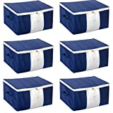 HomeStrap Set of 6 Non Woven Underbed Storage Organizer/Blanket Cover Bag with Transparent Window and Side Handle for Quilt, Clothes (Navy Blue)