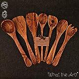 What the Art! Olive Wood | Olivenholz Küchenhelfer 7er Set + Geschenk | 30cm | Pfannenwender + Pfann. gelocht + Kochlöffel + Reislöffel + Salatbesteck + Suppenkelle