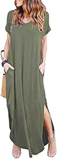 PRIMODA Women's Casual Sexy Side Split V Neck Loose Pocket T-Shirt Long Dress Short Sleeve Maxi Dress
