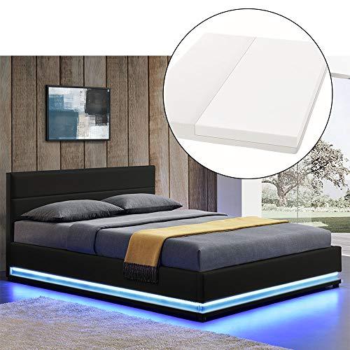 ArtLife LED Polsterbett Toulouse 140 × 200 cm mit Matratze, Lattenrost & Bettkasten - Kunstleder...