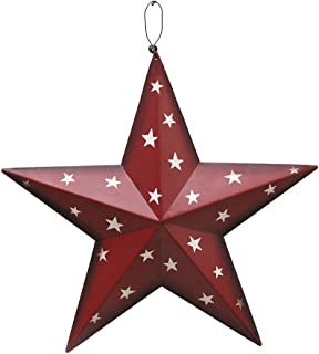 Patriotic Metal Barn Star Wall Decor, 12'' Hanging Country Rustic Metal Star for July 4th Decoration (Red)
