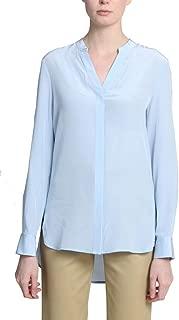 Badgley Mischka Women's Pure Silk Button Up V-Neck Long Sleeve Blouse with Drop Hem