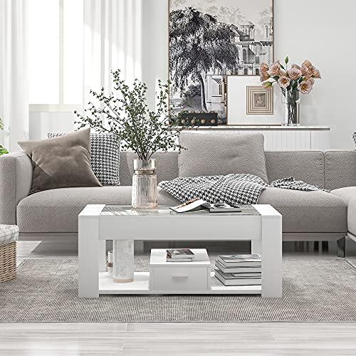 Mesa de centro con parte superior de cristal, mesa auxiliar moderna con estante y 1 cajón, mesa de salón, mesa de café,...