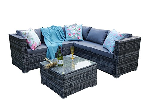 YAKOE 30 mm 5 Seater Classical Range Outdoor Rattan Patio Furniture Corner Sofa Set with Cover - Grey Weave