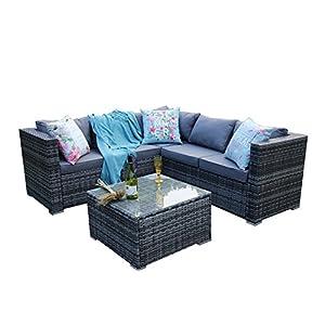 YAKOE Classical 5 Seater Rattan Patio Corner Sofa Set