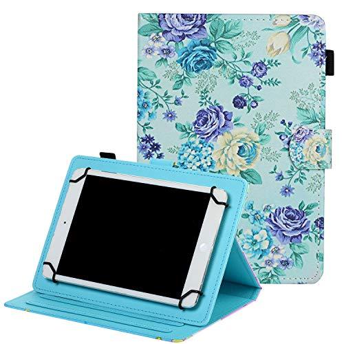 Coopts - Funda para tablet de 7' (piel sintética, función atril), diseño floral C-Púrpura Floral For 9.5-10.5 inch Tablet
