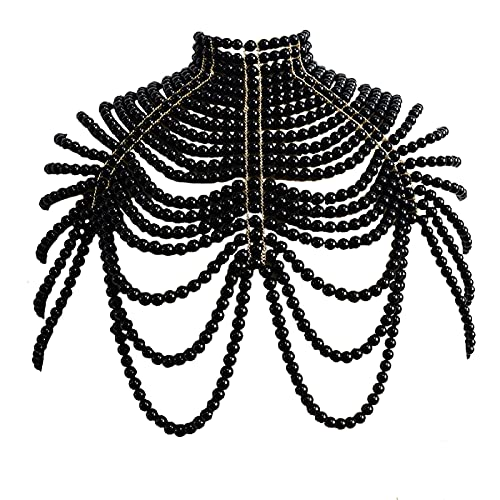 CCbodily Pearl Body Chain Bra - Fashion Shoulder Necklaces Bra Chain Body Jewelry (SB-Pearl)