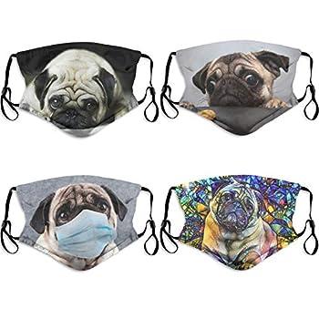 Cute Pug Dog Face Mask with Filter Pocket Washable Face Bandanas Balaclava Reusable Fabric Mask for Men Women