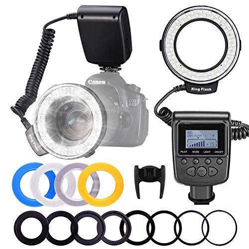 LED Ringblitz Ringleuchte 48 Makro LED Ringblitzleuchte Set mit LCD Anzeige für Nikon/Canon/Panasonic/Olympus/Sony DSLR Kameras (Makro Ring Kopf, 4X Blitz-Diffusor, 8X Adapterring)