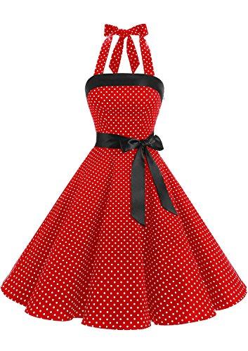 Timormode 10212 Vestido De Vintage 50s Cuello Halter Elegante Mujer Pegueña Rojo Blanco XS