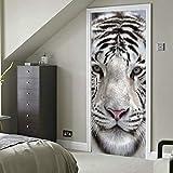 Cara a cara con tigre de bengala blanco Vinilo autoadhesivo Papel pintado removible Dormitorio...