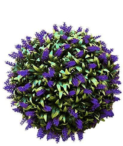 HZK Christmas Wreaths, Artificial Purple Lavender Hanging Topiary Ball Flower Plant Decor Basket Pot 30cm Artificial Flowers Ball Hanging Topiary Ball Door Wall Decoration for Indoors Outside WDDT