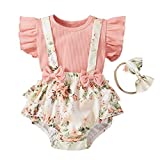 Infant Girl Floral Shorts Set, Ruffle Solid Ribbed Top and Bow Suspender Shorts with Headband (Pink, 0-3M)
