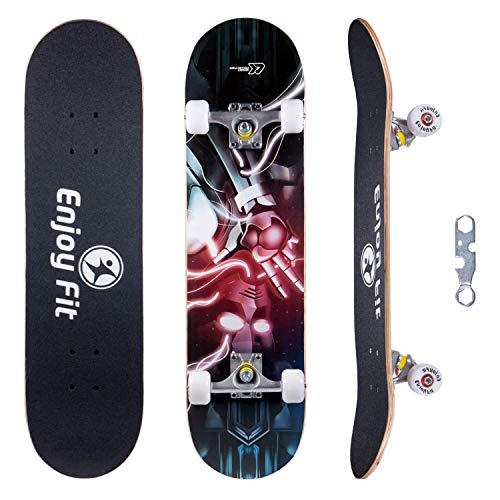 EnjoyFit Skateboard Komplettboard 80 x 20 cm mit ABEC-7 Kugellager 9-lagigem Ahornholz für Kinder Jungendliche und Erwachsene, Belastung 150kg (Blitz)