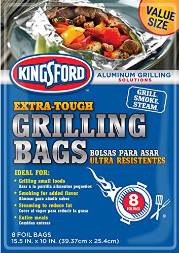 Kingsford Extra Tough Aluminum Grill Bags, for Locking in Flavors & Easy Grill Clean Up, Recyclable & Disposable, 15.5' x 10', Pack of 8